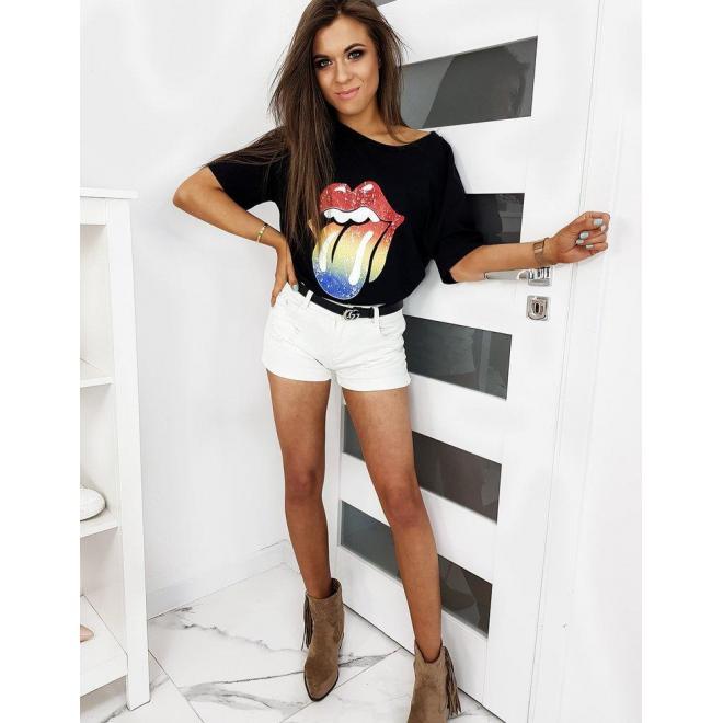 Dámske oversize tričko s farebnou potlačou v čiernej farbe