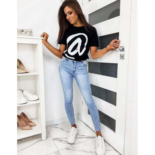 Klasické dámske tričko čiernej farby s módnou potlačou
