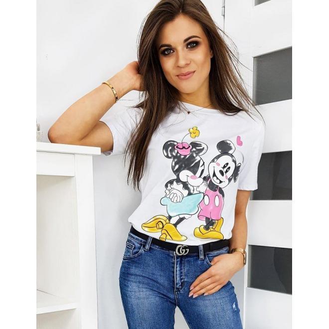 Dámske módne tričko s farebnou potlačou v bielej farbe