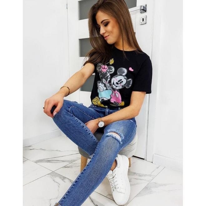 Čierne módne tričko s farebnou potlačou pre dámy