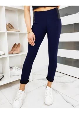 Dámske elastické nohavice v tmavomodrej farbe
