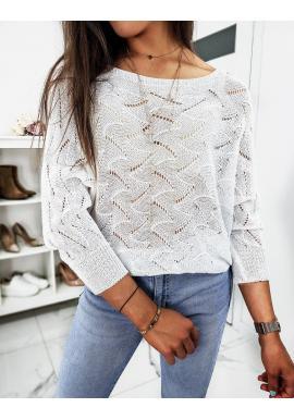 Dierkovaný dámsky sveter bielej farby s viazaním vzadu