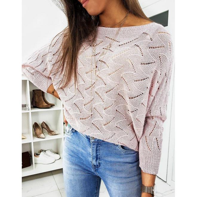 Dámsky dierkovaný sveter s viazaním vzadu v ružovej farbe