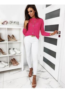 Ažúrový dámsky sveter ružovej farby s gombíkmi