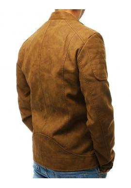 Pánska kožená bunda v hnedej farbe