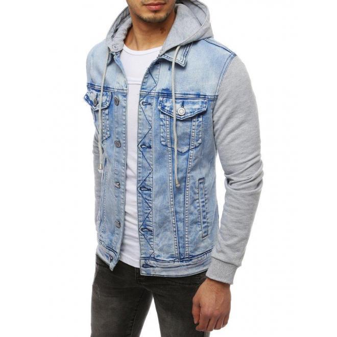 Rifľová pánska bunda modrej farby s teplákovými rukávmi a kapucňou