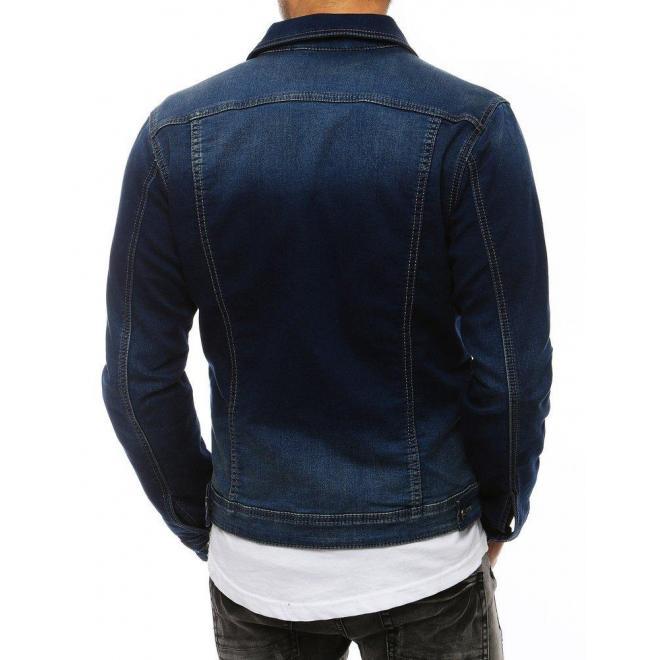 Modrá rifľová bunda pre pánov