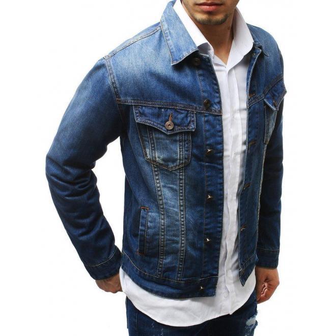 Pánska rifľová bunda v modrej farbe
