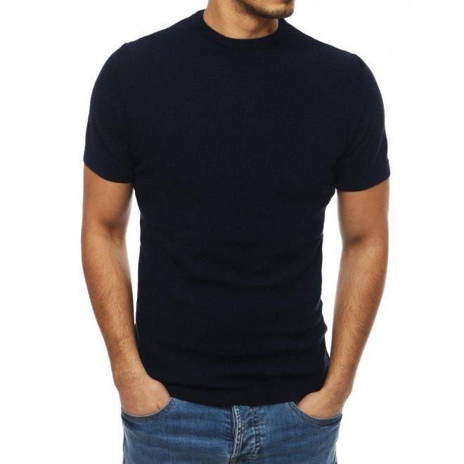 Tmavomodrý štýlový sveter s krátkym rukávom pre pánov