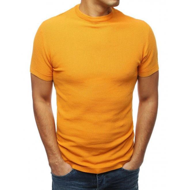Pánsky štýlový sveter s krátkym rukávom v ťavej farbe
