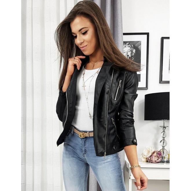 Koženková dámska bunda čiernej farby