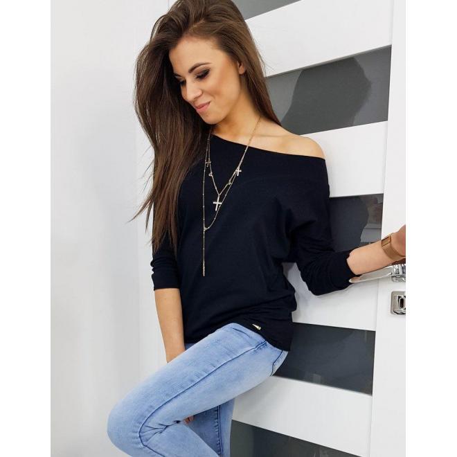 Klasické dámske tričko čiernej farby s dlhým rukávom