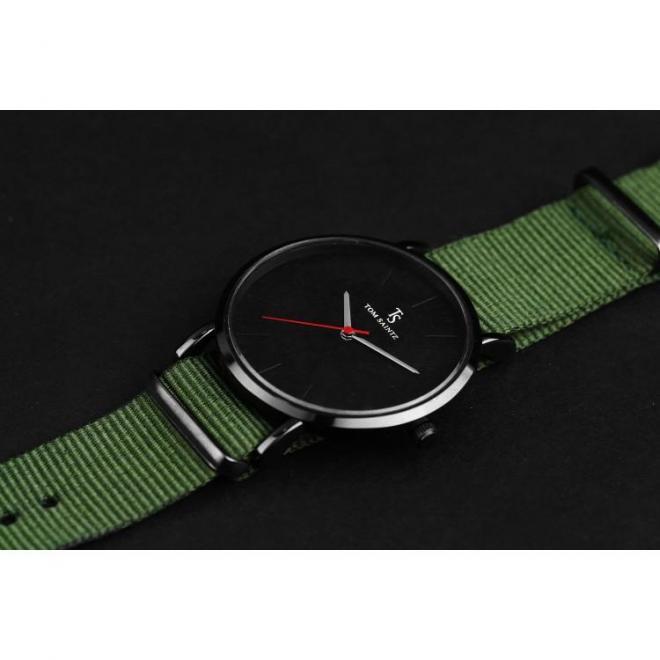 Módne pánske hodinky zelenej farby na textilnom remienku
