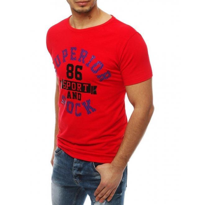 Športové pánske tričko červenej farby s potlačou