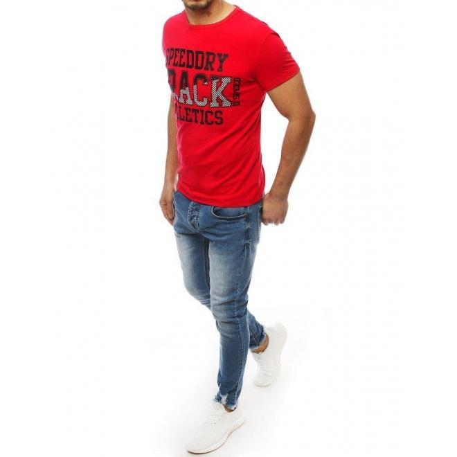 Červené klasické tričko s potlačou pre pánov