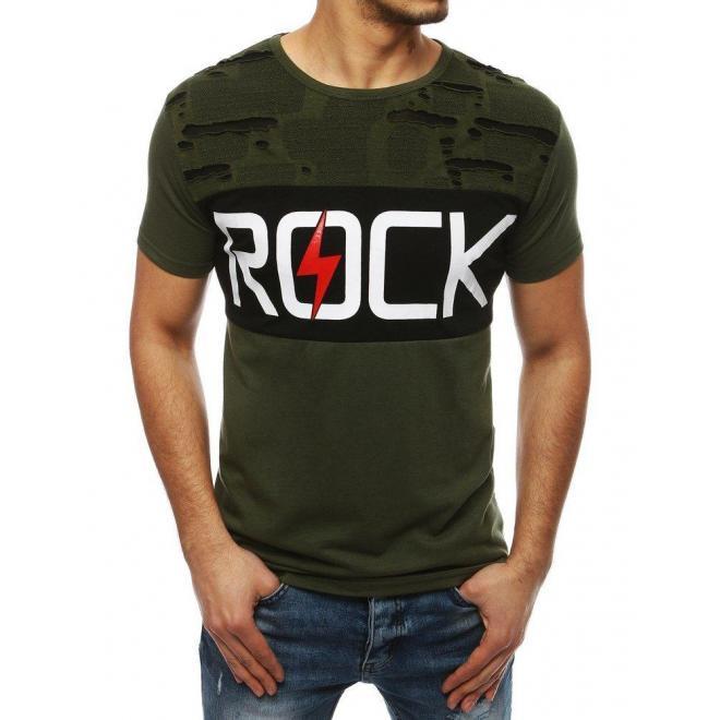 Pánske módne tričko s potlačou v zelenej farbe