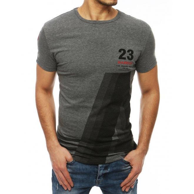 Tmavosivé športové tričko s potlačou pre pánov