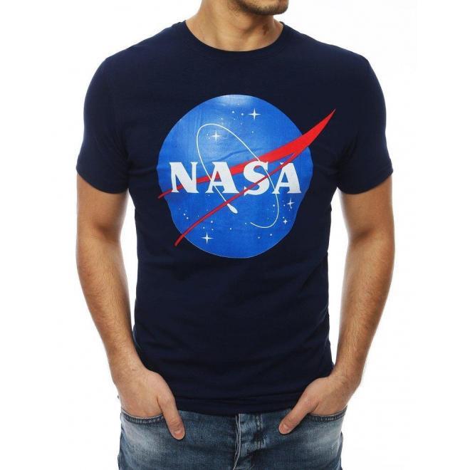 Tmavomodré módne tričko s potlačou NASA pre pánov