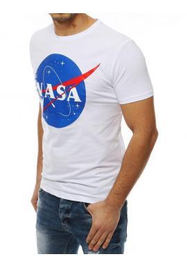 Pánske módne tričko s potlačou NASA v bielej farbe