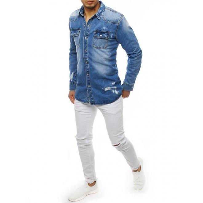 Rifľová pánska košeľa modrej farby s dierami