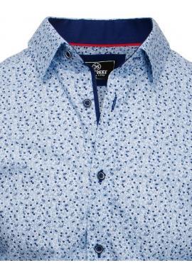 Svetlomodrá vzorovaná košeľa s dlhým rukávom pre pánov