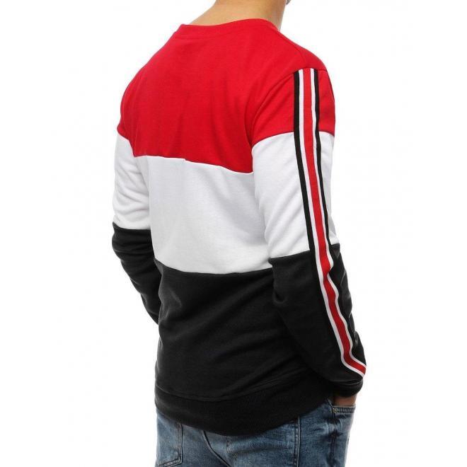 Štýlová pánska mikina červeno-čiernej farby s pásmi na rukávoch