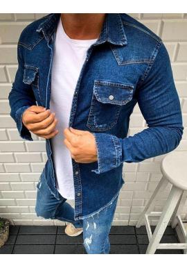 Rifľová pánska košeľa tmavomodrej farby s vreckami na hrudi
