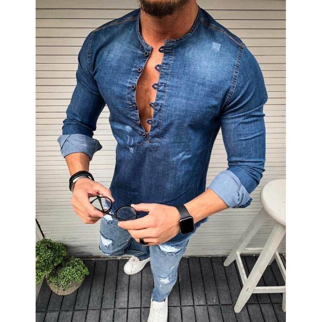 Pánska štýlová rifľová košeľa v modrej farbe