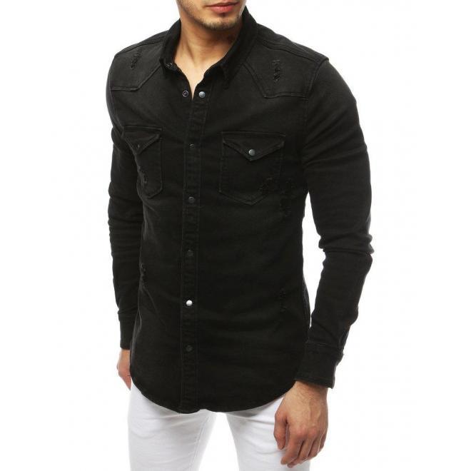 Čierna rifľová košeľa s vreckami na hrudi pre pánov