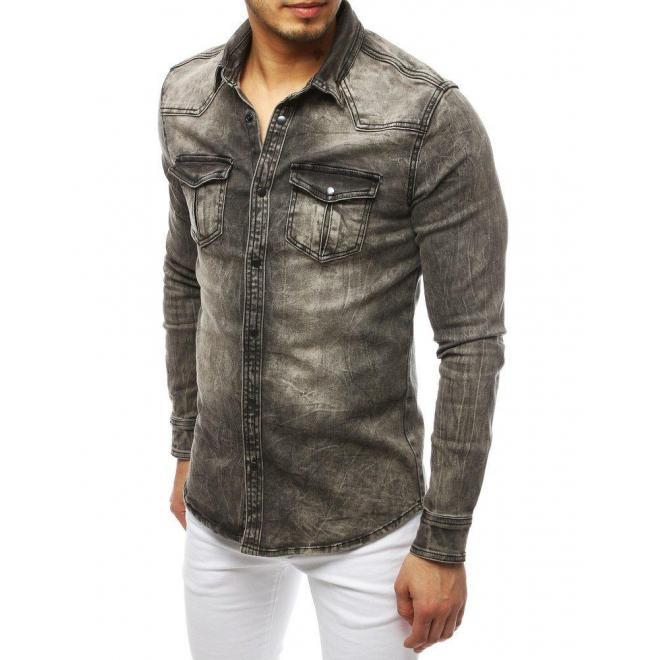 Pánska rifľová košeľa s vreckami na hrudi v sivej farbe