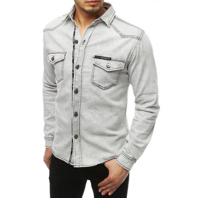 Rifľová pánska košeľa svetlosivej farby s vreckami na hrudi
