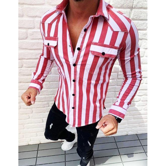 Pánska pásikavá košeľa s dlhým rukávom v červenej farbe