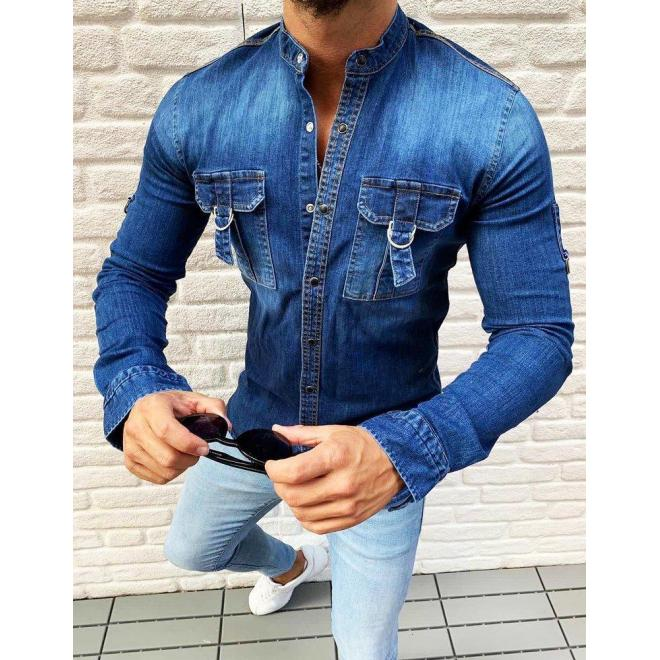 Modrá rifľová košeľa s vreckami na hrudi pre pánov