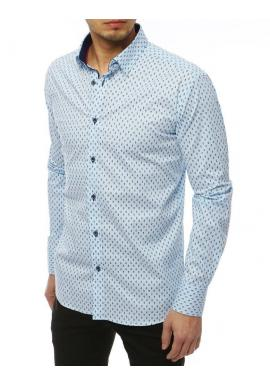 Pánska vzorovaná košeľa s dlhým rukávom v svetlomodrej farbe