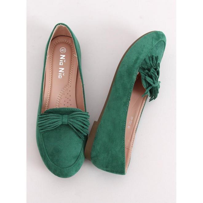 Dámske semišové mokasíny so strapcovou mašľou v zelenej farbe
