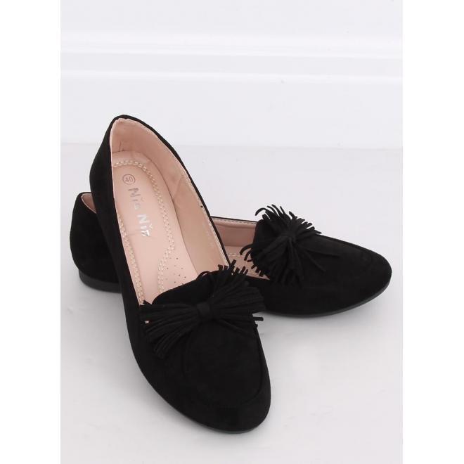 Semišové dámske mokasíny čiernej farby so strapcovou mašľou