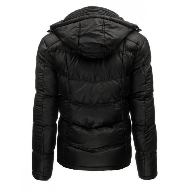 Prešívaná pánska bunda na zimu v čiernej farbe