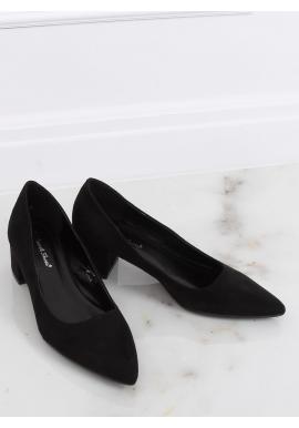 Čierne semišové lodičky na nízkom podpätku pre dámy