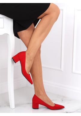 Semišové dámske lodičky červenej farby na nízkom podpätku