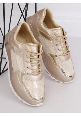 Zlaté metalické tenisky s lakovanými doplnkami pre dámy