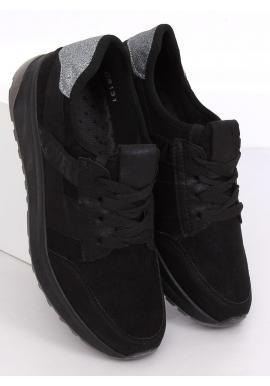 Semišové dámske tenisky čiernej farby s brokátovou vložkou