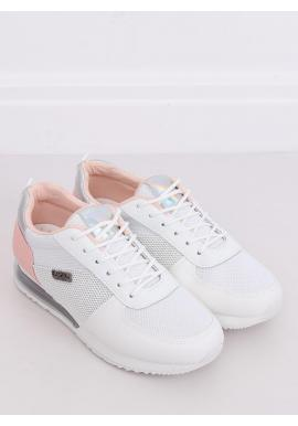 Dámske športové tenisky s holografickými vložkami v bielo-ružovej farbe