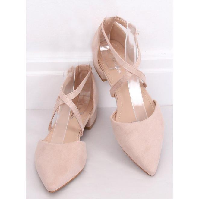 Béžové semišové balerínky s prekríženými pásikmi pre dámy