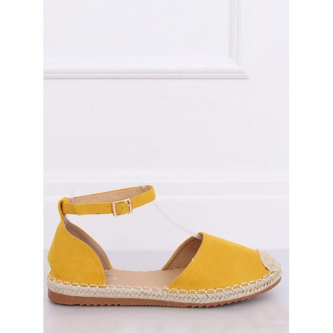 Dámske semišové espadrilky v žltej farbe