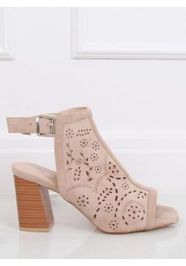 Dámske semišové sandále na stabilnom podpätku v béžovej farbe