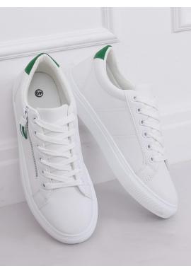 Klasické dámske tenisky bielo-zelenej farby s ozdobným zipsom