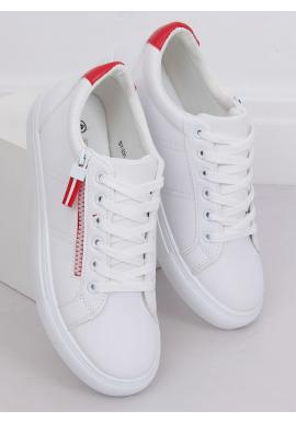 Dámske klasické tenisky s ozdobným zipsom v bielo-červenej farbe