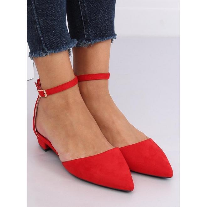 Červené semišové balerínky na nízkom opätku pre dámy