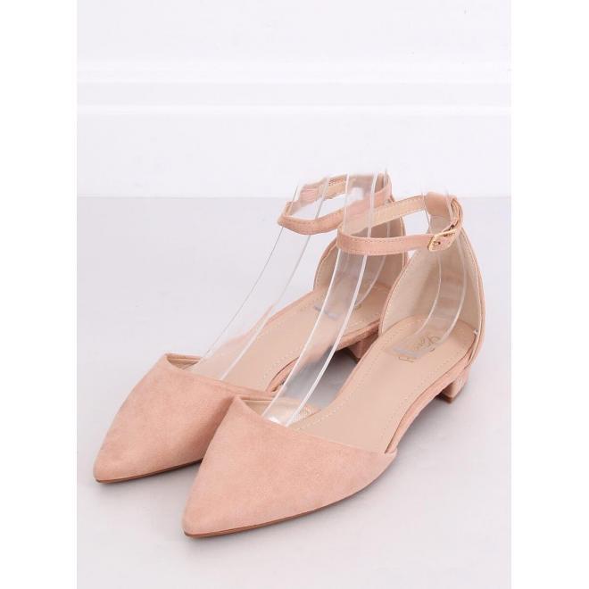 Semišové dámske balerínky ružovej farby na nízkom opätku