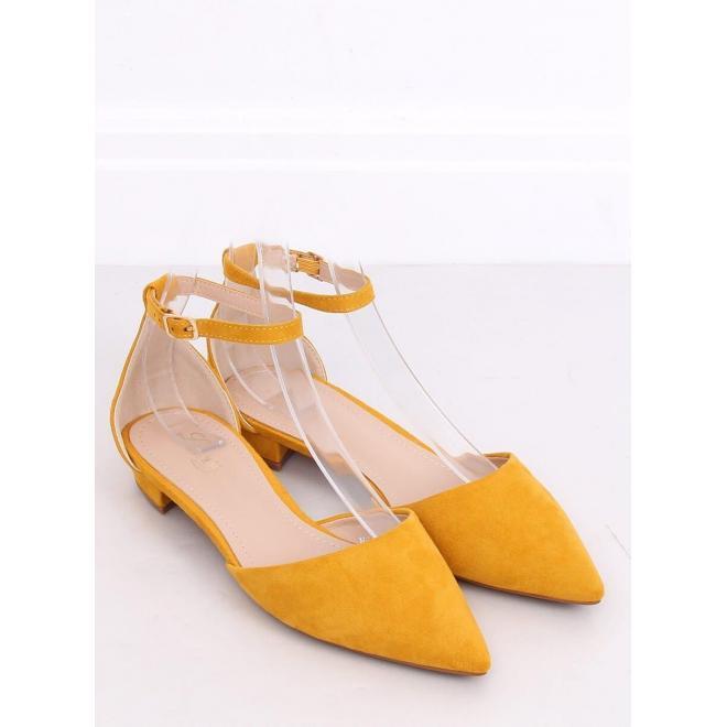 Žlté semišové balerínky na nízkom opätku pre dámy